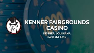 Casino & gambling-themed header image for Barons Bus Charter service to Kenner Fairgrounds Casino in Kenner, Louisiana. Please call 5044615246 to contact the casino directly.)