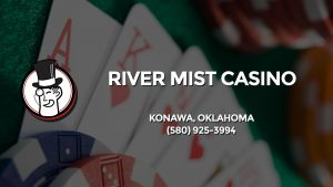 Casino & gambling-themed header image for Barons Bus Charter service to River Mist Casino in Konawa, Oklahoma. Please call 5809253994 to contact the casino directly.)