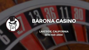 Casino & gambling-themed header image for Barons Bus Charter service to Barona Casino in Lakeside, California. Please call 6194432300 to contact the casino directly.)