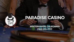 Casino & gambling-themed header image for Barons Bus Charter service to Paradise Casino in Winterhaven, California. Please call 7605727777 to contact the casino directly.)