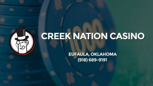 Casino & gambling-themed header image for Barons Bus Charter service to Creek Nation Casino in Eufaula, Oklahoma. Please call 9186899191 to contact the casino directly.)