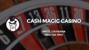 Casino & gambling-themed header image for Barons Bus Charter service to Cash Magic Casino in Amite, Louisiana. Please call 9857487870 to contact the casino directly.)