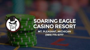 Casino & gambling-themed header image for Barons Bus Charter service to Soaring Eagle Casino Resort in Mt. Pleasant, Michigan. Please call 9897755777 to contact the casino directly.)