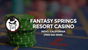 Casino & gambling-themed header image for Barons Bus Charter service to Fantasy Springs Resort Casino in Indio, California. Please call 7603425000 to contact the casino directly.)