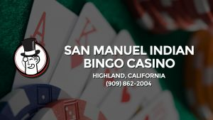 Casino & gambling-themed header image for Barons Bus Charter service to San Manuel Indian Bingo Casino in Highland, California. Please call 9098622004 to contact the casino directly.)