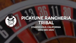 Casino & gambling-themed header image for Barons Bus Charter service to Picayune Rancheria Tribal in Coarsegold, California. Please call 5596834505 to contact the casino directly.)