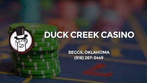 Casino & gambling-themed header image for Barons Bus Charter service to Duck Creek Casino in Beggs, Oklahoma. Please call 9182673449 to contact the casino directly.)