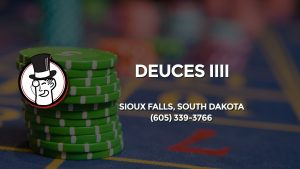 Casino & gambling-themed header image for Barons Bus Charter service to Deuces Iiii in Sioux Falls, South Dakota. Please call 6053393766 to contact the casino directly.)
