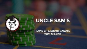 Casino & gambling-themed header image for Barons Bus Charter service to Uncle Sam's in Rapid City, South Dakota. Please call 6053434219 to contact the casino directly.)