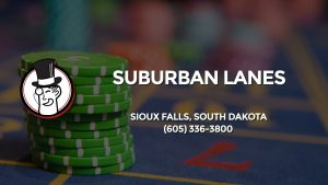 Casino & gambling-themed header image for Barons Bus Charter service to Suburban Lanes in Sioux Falls, South Dakota. Please call 6053363800 to contact the casino directly.)