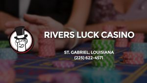 Casino & gambling-themed header image for Barons Bus Charter service to Rivers Luck Casino in St. Gabriel, Louisiana. Please call 2256224571 to contact the casino directly.)