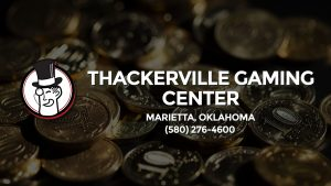 Casino & gambling-themed header image for Barons Bus Charter service to Thackerville Gaming Center in Marietta, Oklahoma. Please call 5802764600 to contact the casino directly.)