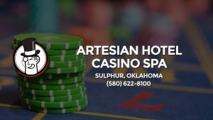 Casino & gambling-themed header image for Barons Bus Charter service to Artesian Hotel Casino Spa in Sulphur, Oklahoma. Please call 5806228100 to contact the casino directly.)