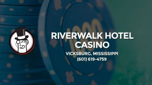 Casino & gambling-themed header image for Barons Bus Charter service to Riverwalk Hotel Casino in Vicksburg, Mississippi. Please call 6016194759 to contact the casino directly.)