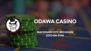 Casino & gambling-themed header image for Barons Bus Charter service to Odawa Casino in Mackinaw City, Michigan. Please call 2314365746 to contact the casino directly.)