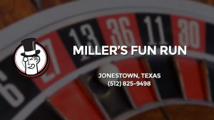 Casino & gambling-themed header image for Barons Bus Charter service to Miller's Fun Run in Jonestown, Texas. Please call 5128259498 to contact the casino directly.)
