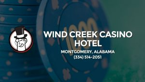 Casino & gambling-themed header image for Barons Bus Charter service to Wind Creek Casino Hotel in Montgomery, Alabama. Please call 3345142051 to contact the casino directly.)