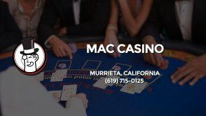 Casino & gambling-themed header image for Barons Bus Charter service to Mac Casino in Murrieta, California. Please call 6197150125 to contact the casino directly.)