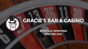 Casino & gambling-themed header image for Barons Bus Charter service to Gracie's Bar & Casino in Bainville, Montana. Please call 4067692125 to contact the casino directly.)
