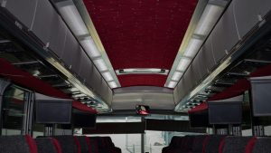 Barons Bus interior shot of center aisle to front