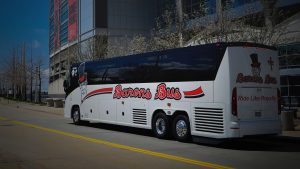 Barons Bus parked in front of university dawg pound
