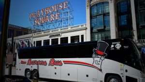 Barons Bus parked in front of Playhouse Square