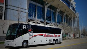 Barons Bus parked in front of stadium