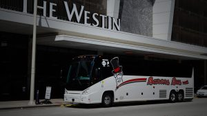 Barons Bus parked in front of Westin Hotel