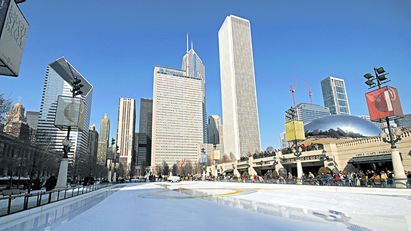 charter bus chicago attractions millenium park skating rink