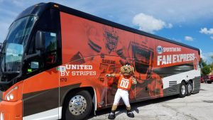 barons bus charter bus atheltics cleveland browns chomps